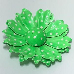 Vintage Lime Green Polka dot flower brooch